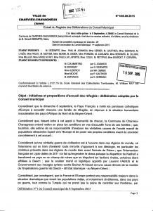 délibération 1 du 8 septembre 2015